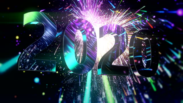 new year's eve fireworks - abstract animation - 2020 stock videos & royalty-free footage