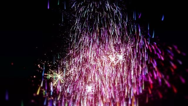 vídeos de stock e filmes b-roll de new year's eve fireworks - abstract animation - mudar de forma