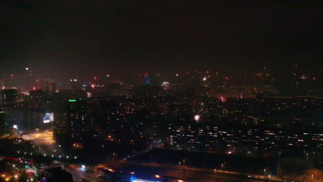 new years eve fireworks from above berlin - communications tower stock videos & royalty-free footage