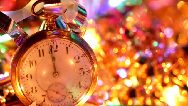new year's eve holiday party with champagne, disco ball, decorations. - pocket watch stock videos and b-roll footage