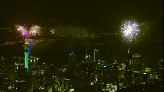 new years fireworks, auckland, new zealand. - countdown stock videos & royalty-free footage