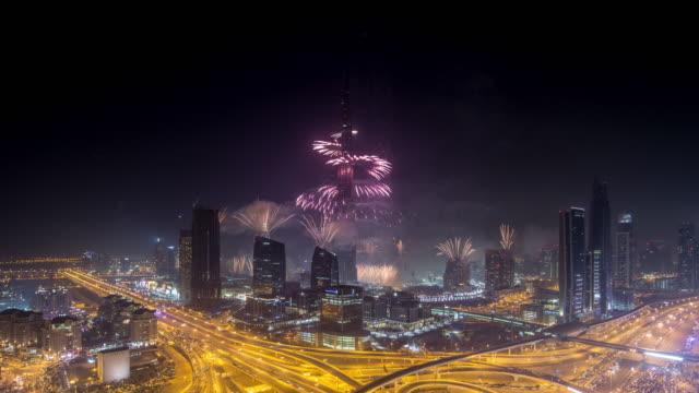 new years fireworks, downtown dubai - burj khalifa stock videos & royalty-free footage