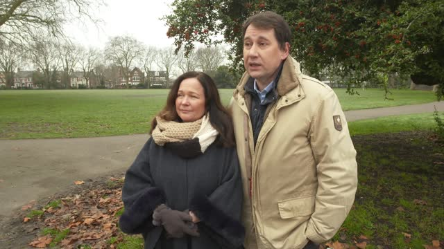 stockvideo's en b-roll-footage met new year's honour list 2021: honours list revealed; england: london: ext tanya and nadim ednan-laperouse set up shots with reporter / interview sot - new not politics