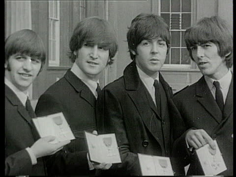 new year's honours list new year's honours list england london the beatles getting mbes from buckingham palace - the beatles stock videos and b-roll footage