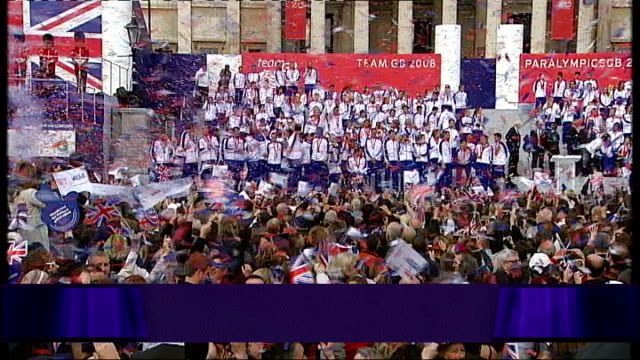 olympians dominate / london bombings heroes recognised r16100802 various of team gb medal winners and contestants in victory parade - elbow stock videos & royalty-free footage