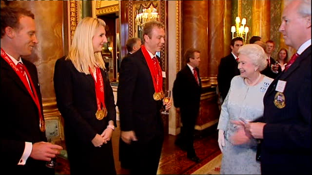 new years honours list: olympians dominate / london bombings heroes recognised; r16100804 buckinghan palace: hoy and rebecca adlington meeting queen... - hoy stock videos & royalty-free footage