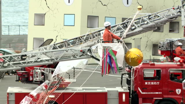 a new year's parades of tokyo fire department brigades were held on monday january 6 at tokyo big site dome southern tokyo the annual event is called... - veicolo terrestre commerciale video stock e b–roll