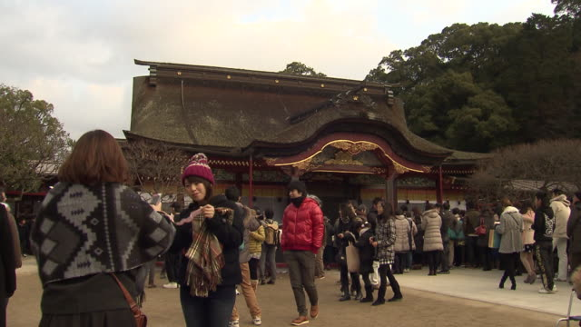 "new years' prayer at ""dazaifu tenmangu shrine"" the shrine is dedicated to sugawara michizane who is known as the god of learning all through the year... - shrine stock videos & royalty-free footage"
