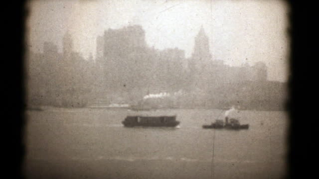 new york 1927, 16 mm film (hd1080 - freiheitsstatue stock-videos und b-roll-filmmaterial
