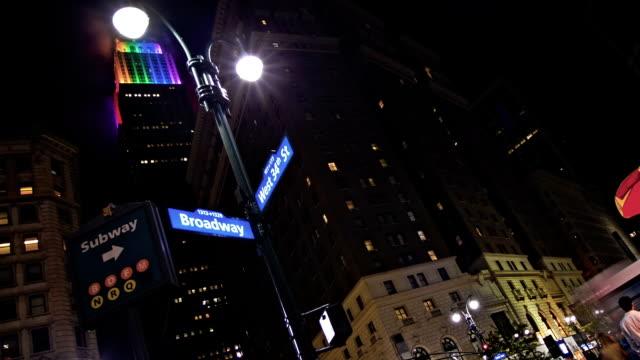 new york at night - manhattan new york city stock videos & royalty-free footage