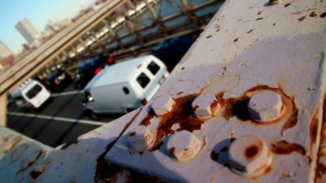 new york brooklin bridge traffic rusty metal