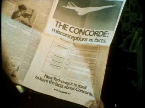 new york businessmen want the concorde usa new york kennedy airport l across airport gv zoom twa boing to incoming plane 'ad in new york times by... - british aerospace concorde stock videos & royalty-free footage