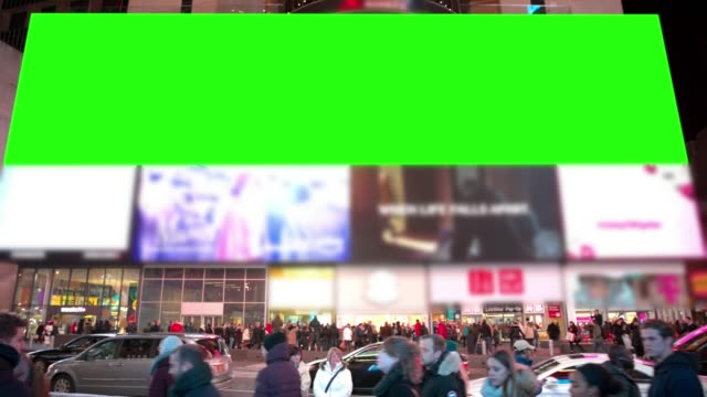 new york chromakey winter time square people crowd green screen - billboard stock videos & royalty-free footage
