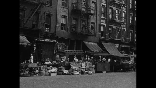 new york city 1930s vegetable street market - cart stock videos and b-roll footage