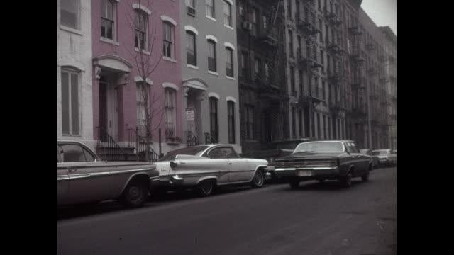 New York City 1950s Neighborhood Car Lined  Street