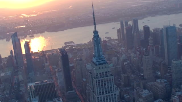 new york city aerial footage - empire state building stock videos & royalty-free footage
