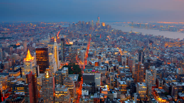 New York City Aerial Skyline at Dusk