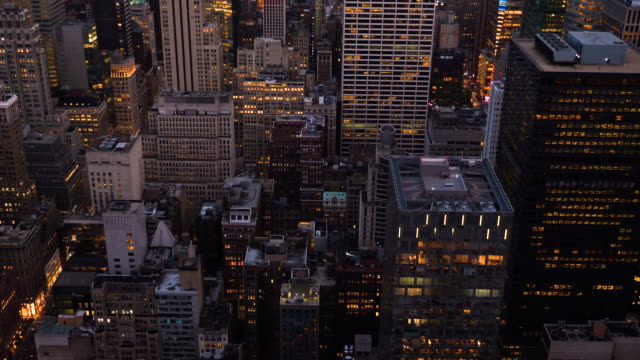 new york city aerial view at night - helicopter stock videos & royalty-free footage