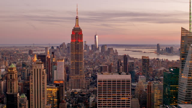 new york city aerial view skyline - empire state building stock videos & royalty-free footage