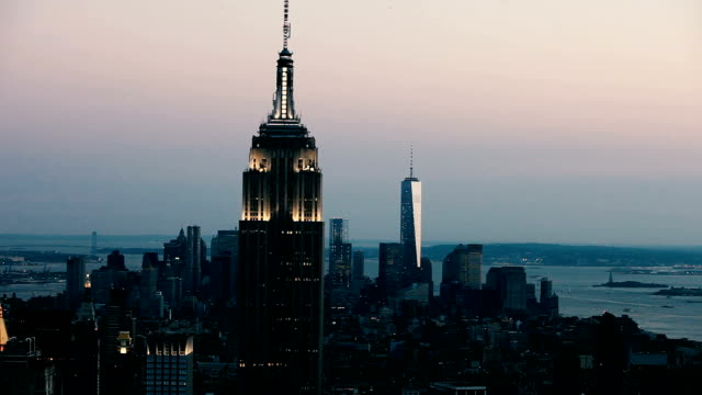 New York City amazing skyline at night - aerial view