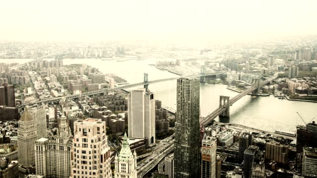 new york city as seen from high above.  aerial view. - desaturated stock videos & royalty-free footage