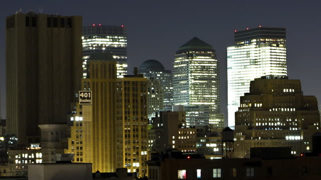 T/L PAN New York City at night into sunrise view of Tribeca