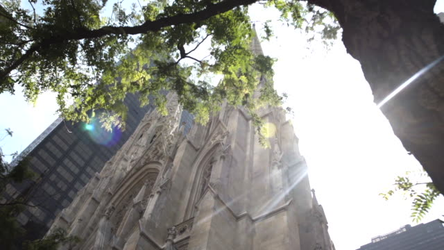 new york city cathedral exterior establishing shot - summer 2016 - st. patrick's cathedral manhattan stock videos and b-roll footage