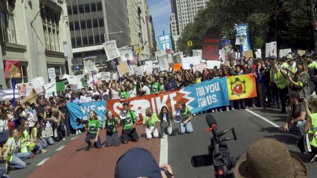 new york city climate strike protesting climate change. thousands of participants marched from foley square to battery park in downtown manhattan.... - new age stock videos & royalty-free footage