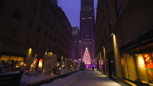 new york city – december 17 2020: first winter snowstorm hits new york city at times square, amidst the covid-19 pandemic during the winter holiday... - christmas tree stock videos & royalty-free footage