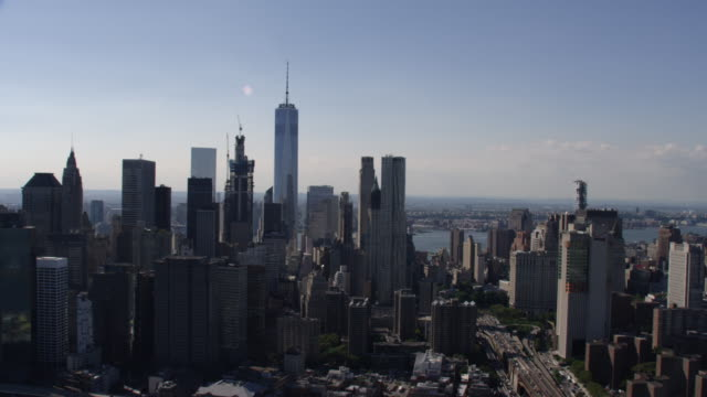 new york city downtown manhattan summer daytime aerial view - tribeca stock videos & royalty-free footage
