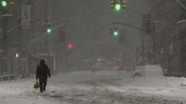 new york city during a snowstorm - 30 seconds or greater stock videos & royalty-free footage