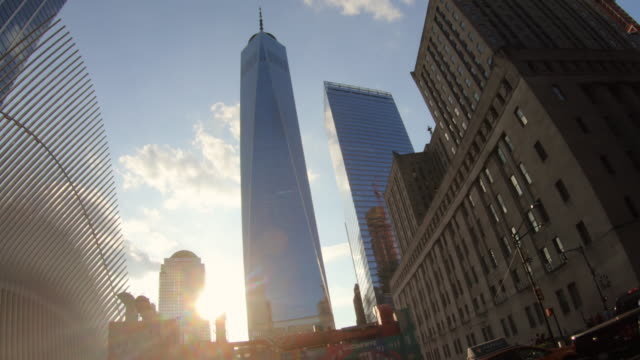 new york city financial district from below - directly below stock videos & royalty-free footage