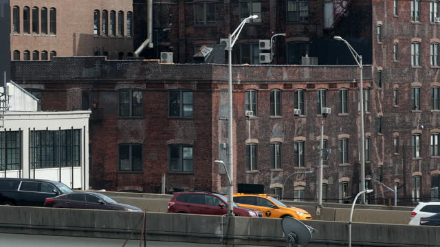 new york city highway traffic jam - yellow taxi stock videos & royalty-free footage