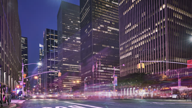 New York city in the evening, intersection