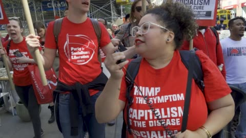 new york city international workers day . demonstrators gathered and rallied in washington square park and marched to various neighborhoods in... - democracy stock videos & royalty-free footage