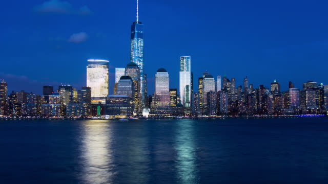 t/l new york city lower manhattan skyline day to night to day - day stock videos & royalty-free footage