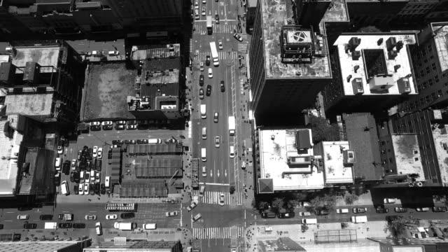 New York City Manhattan in Black & White / Drone flight