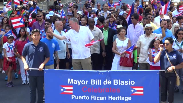 New York City Mayor Bill de Blasio marches during the Puerto Rican Day Parade on June 12 2016 in New York City 5th Avenue Manhattan USA