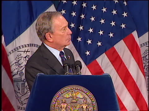 new york city mayor michael bloomberg warns of the economic downturn's effect as he presents the new york city 2009 budget. - business or economy or employment and labor or financial market or finance or agriculture stock videos & royalty-free footage