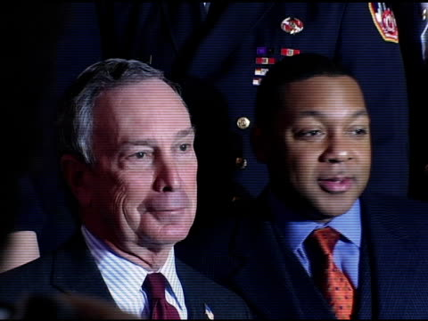 new york city mayor michael bloomberg wynton marsalis and representatives from the nypd nyfd ny dept of correction and nyc office of emergency... - bürgermeister stock-videos und b-roll-filmmaterial