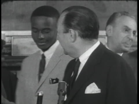 new york city mayor robert wagner greets 9 black little rock high school students during the integration movement in the late 1950s - robert wagner stock videos & royalty-free footage