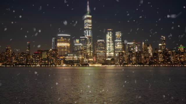 new york city nyc snow falling background for new year greetings 4k stock video - snowing stock videos & royalty-free footage