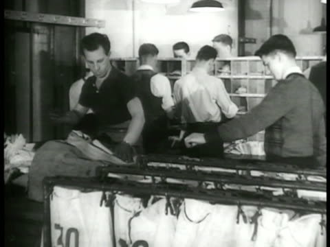 new york city office building busy mailroom w/ mail bags men sorting male hands grabbing small bundles off pile male sorting letters into 'pigeon... - mail stock videos and b-roll footage