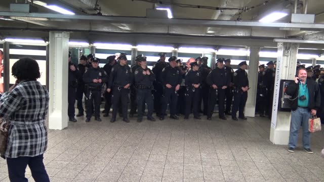 New York City Police Department patrols Times Square subway station / Midtown Manhattan New York City USA