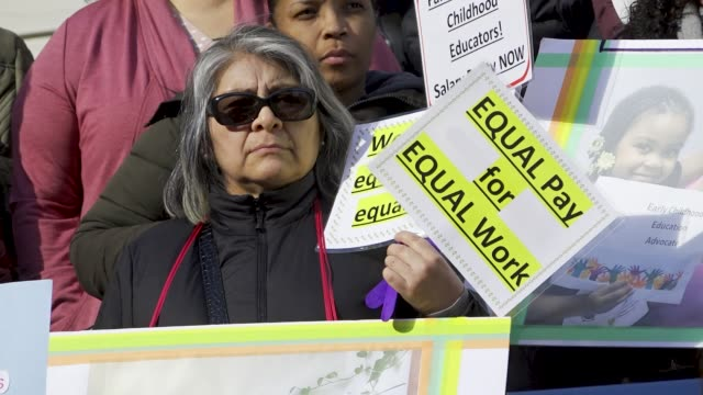 new york city pre-k educators threaten to strike over pay disparity. local politicians and members of the labor union district council 1707, afscme... - labor union stock videos & royalty-free footage