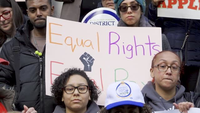 new york city prek educators threaten to strike over pay disparity local politicians and members of the labor union district council 1707 afscme... - around the fair n.y stock videos & royalty-free footage