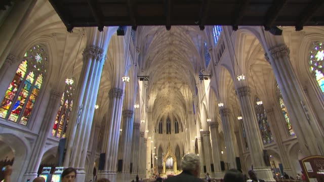 new york city preps for pope francis evening prayer at st patrick's cathedral - st. patrick's cathedral manhattan stock videos and b-roll footage
