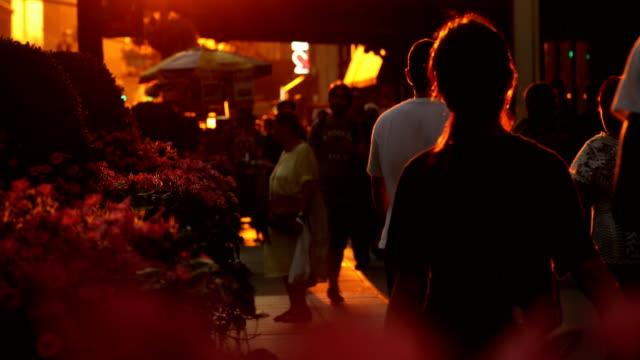 new york city sidewalk sunset - pavement stock videos & royalty-free footage