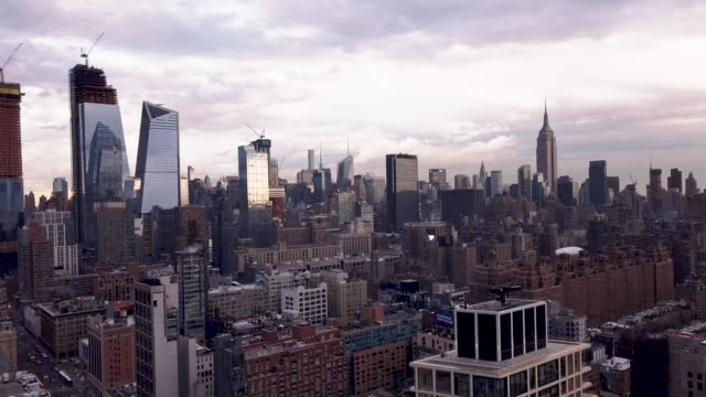 new york city skyline aerial shot - manhattan stock videos & royalty-free footage