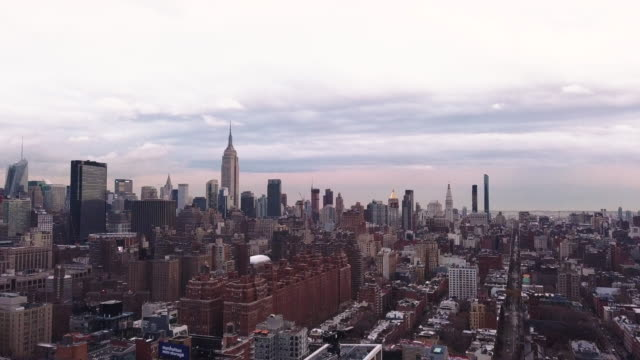 new york city skyline aerial shot - midtown new york city stock videos and b-roll footage